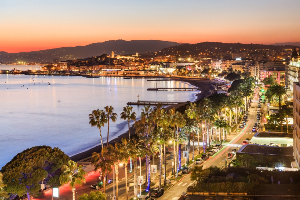The Bay of Cannes at twilight